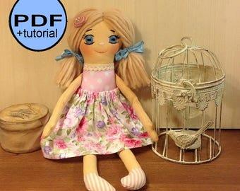 Cloth doll sewing pattern rag doll pattern soft doll making stuff doll textile doll fabric doll plush cotton doll pink heirloom tutorial PDF