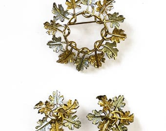 Sarah Coventry Leaf Brooch and Earring Set