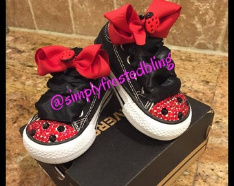 Lady Bug Converse blinged shoes infant/toddler sizes