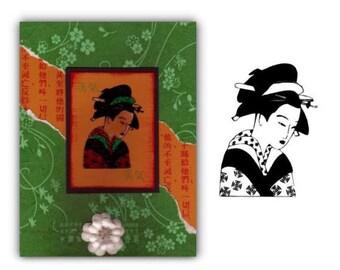 GEISHA unmounted Oriental rubber stamp, Japanese lady, geiko, artisan, entertainer, woman, Sweet Grass Stamps No.12