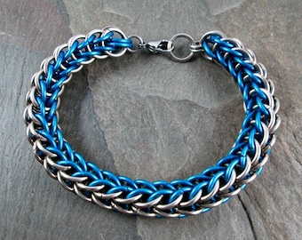 Chainmaille Bracelet - Turquoise and Steel - Full Persian - Chainmail Bracelet - Mens Chainmaille - Chainmaille Jewelry - Steel Bracelet