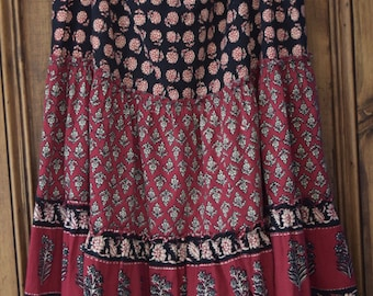 Vintage 1980s Hand Block Printed Cotton Tiered Floaty Hippy Skirt - PHOOL era - Made in India