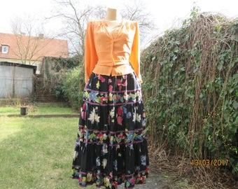 Long Full Skirt / Skirt Vintage / Skirt Size EUR36 / 38 / UK8 / 10 / Small Size Skirt / Black / White / Green/ Yellow / Elastic Waist