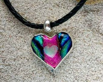 Aurora Heart Memorial Necklace,Bezel Set in Silver, Ashes in Glass, Pet Memorial, Cremation Jewelry, Ashes Necklace