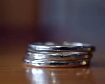 Set of Three Sterling Silver Stacking Rings, Stackable Hammered Bands, Oxidized Stacker Jewelry