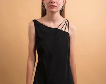 Asymmetrical Shoulder Dress / Vintage 90s Dress / Minimal 90s Dress / Straight Flowing Dress / Maxi Dress Δ size: L