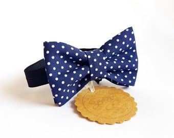 Child blue bow tie with white polka dots, polka dot bow tie, baby bow tie, gift ideas, cotton bow tie