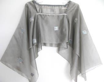 Gray silver shawl/ tulle shawl/ over dress/organza shawl/ beaded shawl/ shrug/shoulder dress cover/S-M