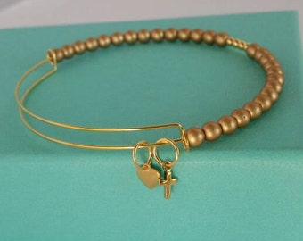 Matte gold bangle, beaded bangle, color block bangle, charm bracelet, adjustable bangle, expandable bangle, charm bangle, gold bangle