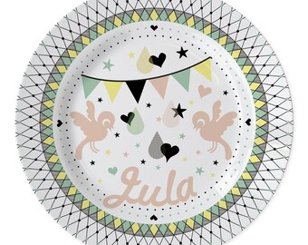 personalized plate with a custom name - plate with birds design - custom kids plate - for her - baby present - kids present - babyshower