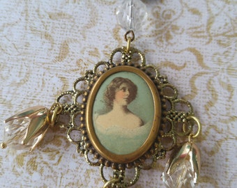 Upcycled Cameo Necklace, victorian, repurposed, shabby chic, boho, unique, one of a kind jewelry