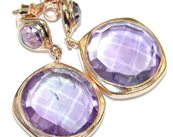 Pink Amethyst Sterling Silver Earrings - weight 8.70g - dim L - 1 3 8, W - 3 4, T - 3 16 inch - code 20-mar-18-11