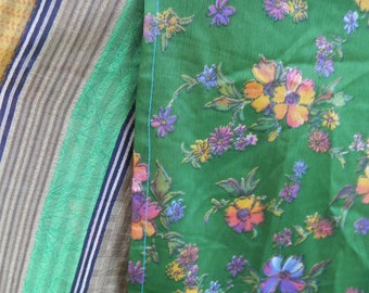 Plus Size Marigold, Plum, Emerald and Bronze Vintage Sari Wrap Skirt