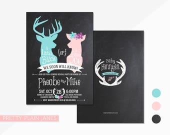 Buck or Doe Gender Reveal Invitation | Deer Gender Reveal Invitation | Buck or Doe Digital Printable Gender Reveal Invite - 5X7