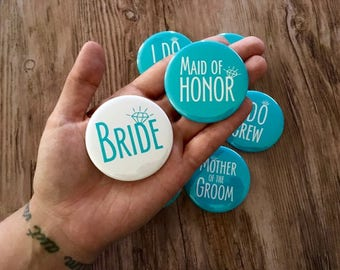 Bachelorette Pins, Team Bride Buttons, Bride Tribe Badge, I Do Crew, Custom Wedding Party, Mint Bridesmaid, Blush Pink, Navy, Turquoise