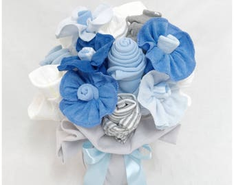 Baby Boy Gift Basket - Baby Boy Clothing, Diaper and Washcloth Bouquet - Blue and Grey Nursery Decor