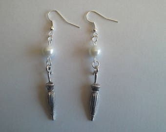 parasol umbrella and White Pearl Earrings