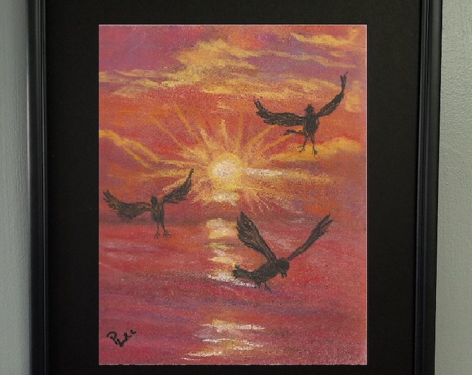 "8x10 Original Signed Pastel Painting, Sunset Artwork, Birds Painting, ""Birds at Sunset"""