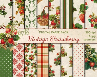 Digital Vintage Shabby Chic Strawberry Seamless  Papers, 16 printable Scrapbooking papers, distress floral papers, Instant Download, set 370