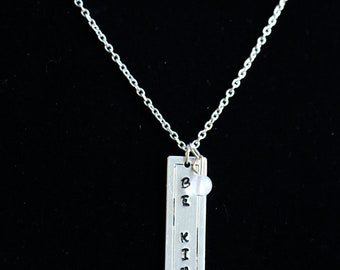 Be Kind Metal Stamped Charm Necklace