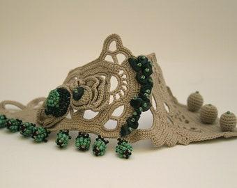 Beige Khaki wide cuff bracelet with Oya beaded lace. Crochet lace cuff bracelet. Original handmade jewelry. Art jewelry. Beaded jewelry cuff