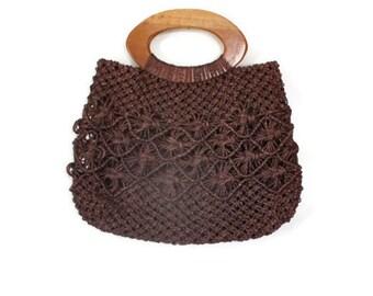 Vintage Handbag / Macrame Handbag / Top Handle Bag / Straw Handbag / Raffia Handbag / Brown Purse / Vintage Purse / Bermuda Bag