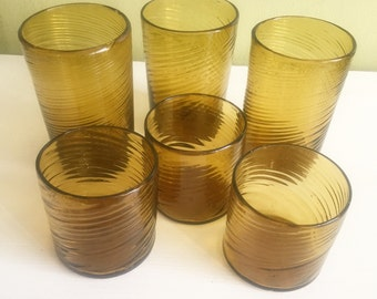 Vintage Swirled Yellow/Gold Glass Cups, Vintage Glass Cups, Colored Glass, Yellow Glass