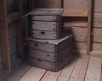 Miniature Rustic Wood Crate Set (2) Solid Wood Block Crates 1:12