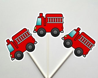 Firetruck Cupcake Toppers, Fireman Cupcake Toppers