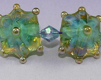 MTO Handmade Lampwork Glass Star beads Earring Pair in AQUA Silver Glass SRA