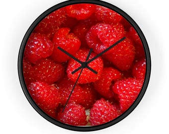 Raspberry Clock, Raspberries, Fruit Clock, Berry Clock, Raspberry Decor, Fruit Decor, Kitchen Clock, Wall Clock, Red, Fruit, Food Clock