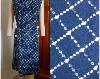 Vintage Blue & White Plaid Shift Dress Size Xlarge
