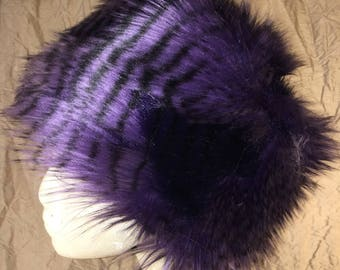 Purple Feather faux fur hat lined in Polartec fleece