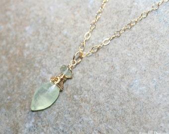 Prehnite Necklace, Moss Aquamarine, Gemstone Jewelry, Prehnite Jewelry, Gold Filled, Green Blue Gemstone Necklace,