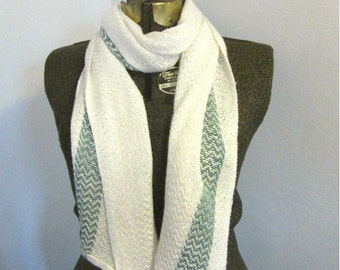 Lulu White and Sea-Green Bamboo Scarf