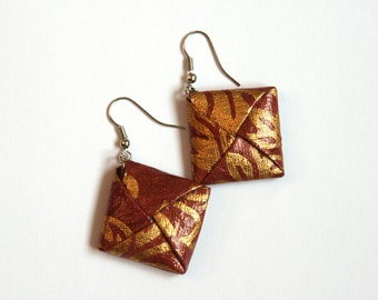 Pink and Gold Origami Square Earrings - Paper Earrings