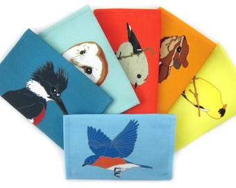 6-Pack of Canvas Bird + Wildlife Wallets | Get 1 FREE + FREE US Shipping | 32 Designs | birder nature outdoors vegan pouch coin purse