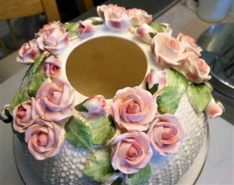 Vintage Porcelain Compote, Pink Porcelain Roses