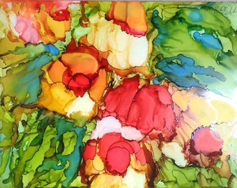 Ink painting, alcohol ink, abstract painting, free form painting, fantasy painting, abstract floral, imaginary floral