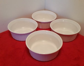 vintage corningware french white individual casserole dishes set of 4,  F-16-B 500 ml, large ramekins