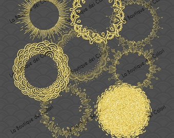 8 Gold Glitter Frames Tags Digital Clip Art. Printable Instant Download for Personal and Commercial Use. JPG & PNG.
