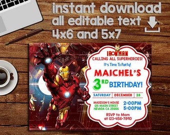 Iron man invitations Etsy