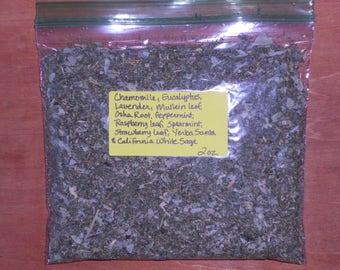 2 oz.  Chamomile*Eucalyptus*Lavender*Mullein*Osha Root*Peppermint*Raspberry leaf*Spearmint*Strawberry leaf*Yerba Santa* White Sage*Smudge