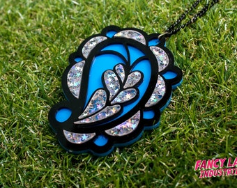 Blue Paisley Holographic Glitter Pendant Necklace, Paisley Jewelry, Holographic Glitter, Laser Cut Jewelry, Paisley Necklace.