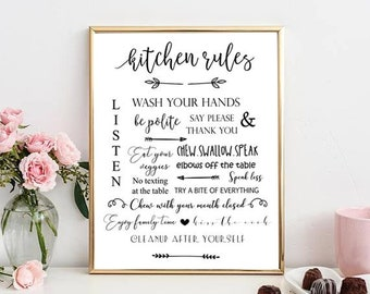 Kitchen Rules print, Kitchen printable, Kitchen wall decor, Good manners/table manners poster, Instant download