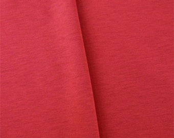 Red Slub Double Knit Jersey, Fabric By The Yard