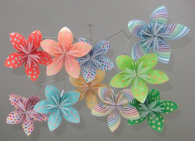 Flower Mobile Whimsical Rainbow Paper Flower