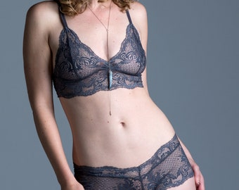 Sheer Lace Bralette - Gray 'Rosa' Style Bra - Custom Fit Made To Order See Through Women's Lingerie