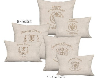 Linen Beige Grain Sack Style French Country Farmhouse Pillow Cover - Pillow - 16x 18x 20x 22x 24x 26x 12x20 14x20 16x26 Inch Cushion Cover