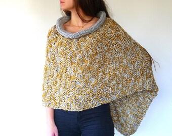 Poncho de lana mostaza y gris   Ponchos tejidos   Ponchos para mujer   Ponchos de punto hechos a mano